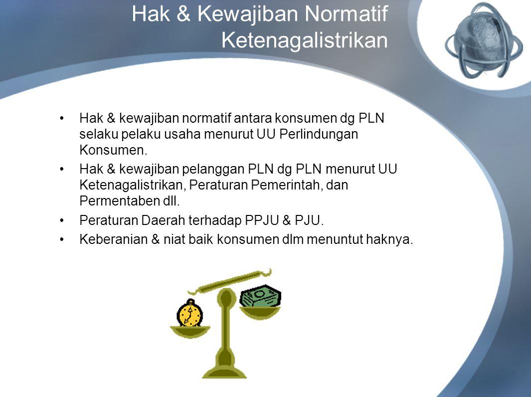 Hak & Kewajiban Normatif Ketenagalistrikan Hak & kewajiban normatif antara konsumen dg PLN selaku pelaku usaha menurut UU Perlindungan Konsumen. Hak &