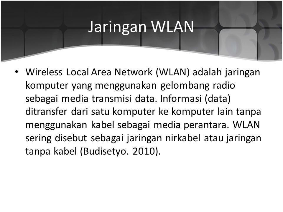 Jaringan WLAN Wireless Local Area Network (WLAN) adalah jaringan komputer yang menggunakan gelombang radio sebagai media transmisi data. Informasi (da