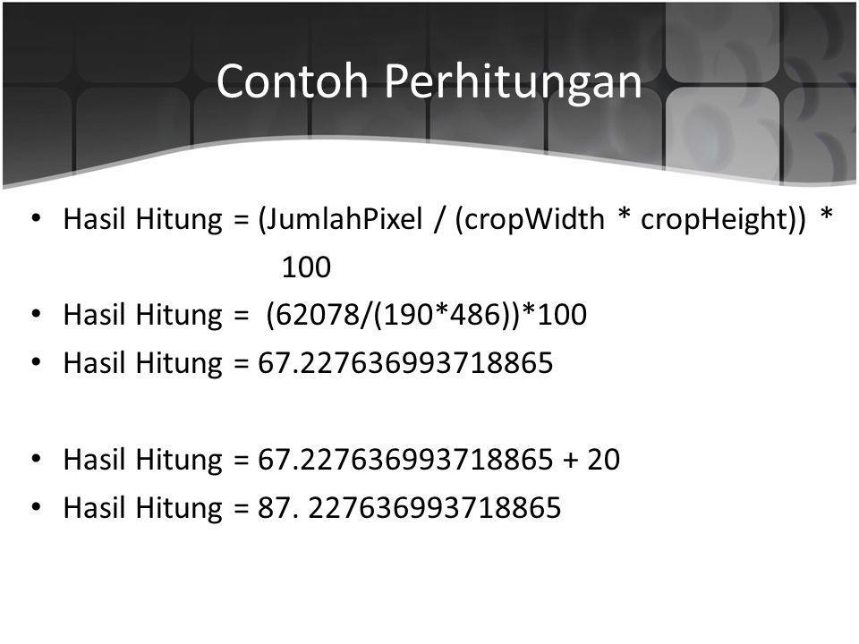 Contoh Perhitungan Hasil Hitung = (JumlahPixel / (cropWidth * cropHeight)) * 100 Hasil Hitung = (62078/(190*486))*100 Hasil Hitung = 67.22763699371886