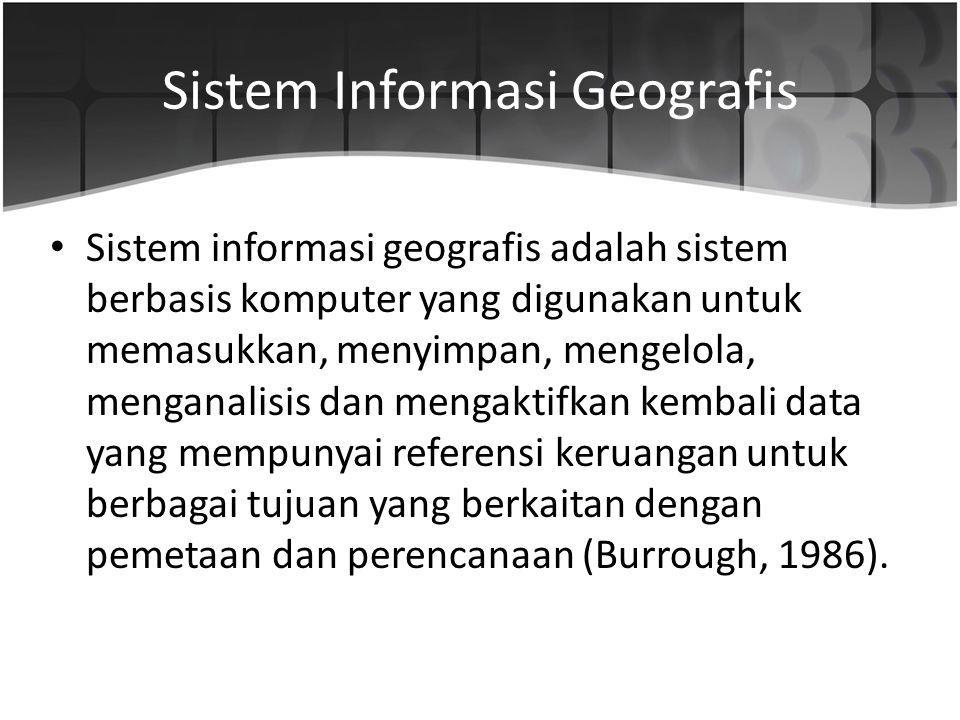 Sistem Informasi Geografis Sistem informasi geografis adalah sistem berbasis komputer yang digunakan untuk memasukkan, menyimpan, mengelola, menganali