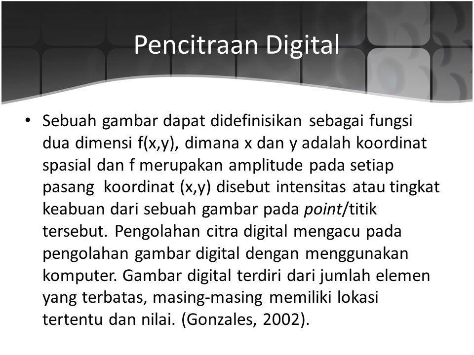 Pencitraan Digital Sebuah gambar dapat didefinisikan sebagai fungsi dua dimensi f(x,y), dimana x dan y adalah koordinat spasial dan f merupakan amplit
