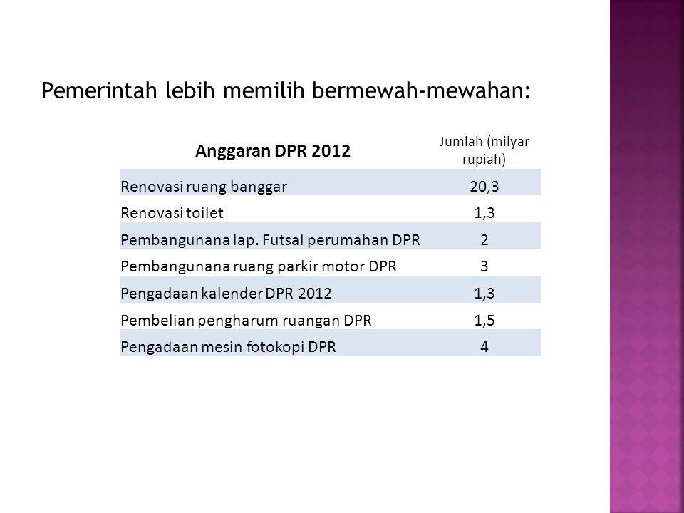 Pemerintah lebih memilih bermewah-mewahan: Anggaran DPR 2012 Jumlah (milyar rupiah) Renovasi ruang banggar20,3 Renovasi toilet1,3 Pembangunana lap.