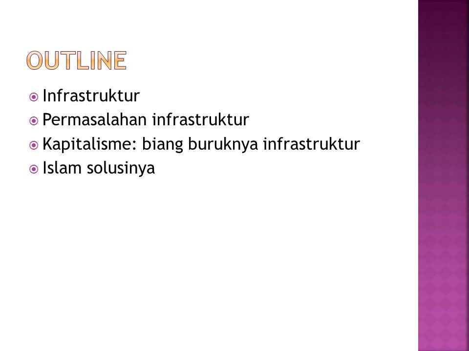  Infrastruktur: segala struktur yang berwujud fisik yang digunakan untuk menopang keberjalanan kegiatan masyarakat sehingga dapat menekan inefisiensi dari aktivitas masyarakat dan meningkatkan pertumbuhan ekonomi.