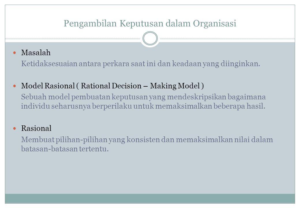 Pengambilan Keputusan dalam Organisasi Masalah Ketidaksesuaian antara perkara saat ini dan keadaan yang diinginkan. Model Rasional ( Rational Decision