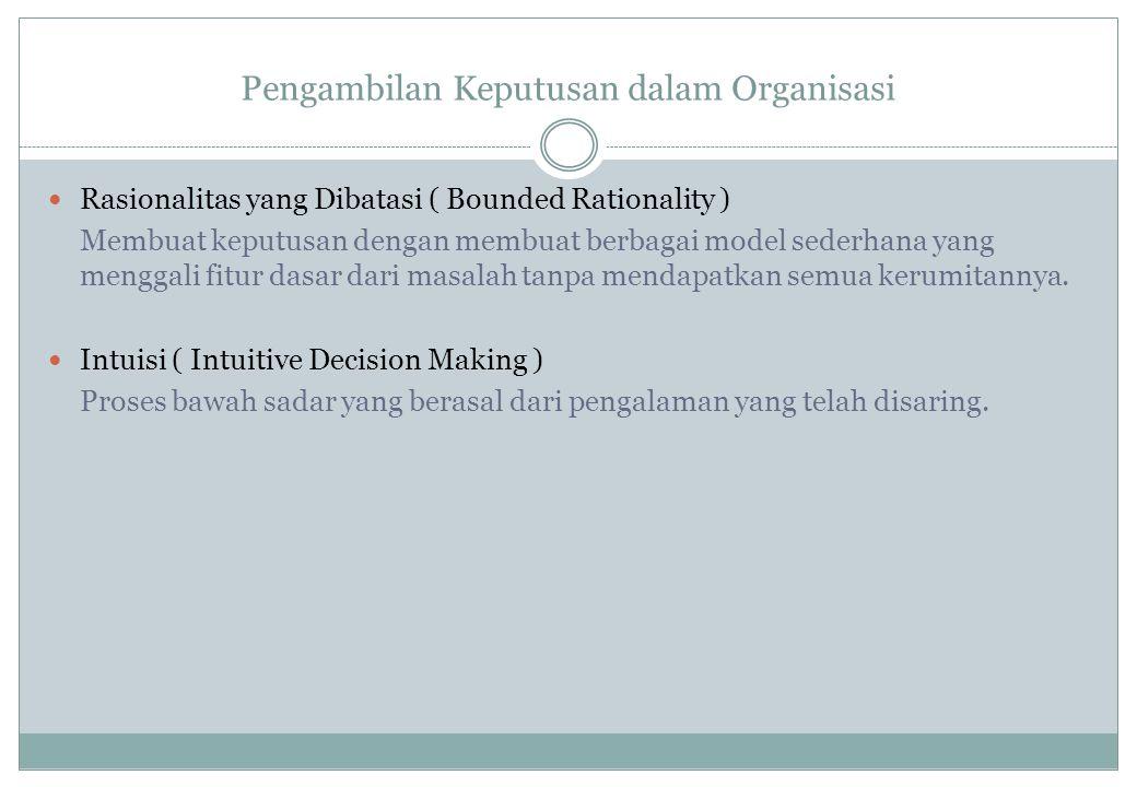Pengambilan Keputusan dalam Organisasi Rasionalitas yang Dibatasi ( Bounded Rationality ) Membuat keputusan dengan membuat berbagai model sederhana ya