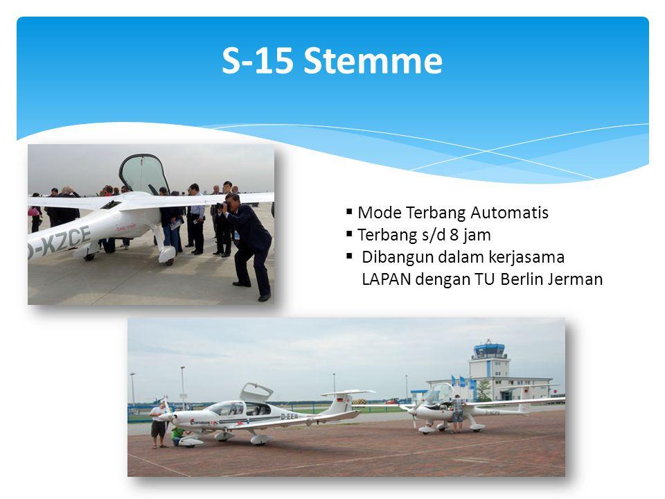 S-15 Stemme  Mode Terbang Automatis  Terbang s/d 8 jam  Dibangun dalam kerjasama LAPAN dengan TU Berlin Jerman