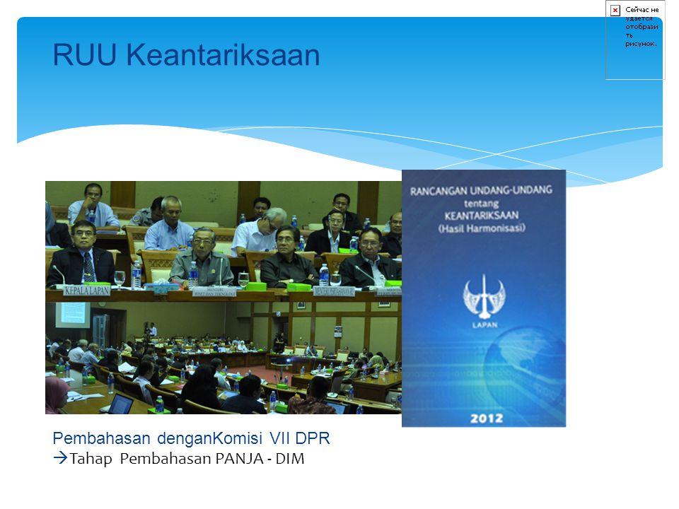 RUU Keantariksaan Pembahasan denganKomisi VII DPR  Tahap Pembahasan PANJA - DIM