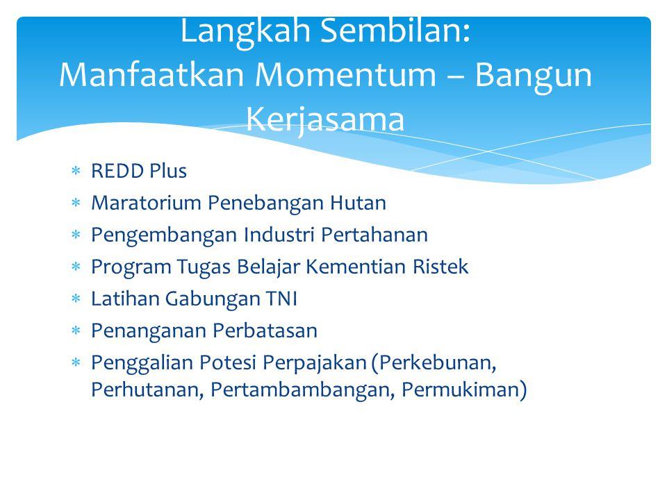  REDD Plus  Maratorium Penebangan Hutan  Pengembangan Industri Pertahanan  Program Tugas Belajar Kementian Ristek  Latihan Gabungan TNI  Penanga