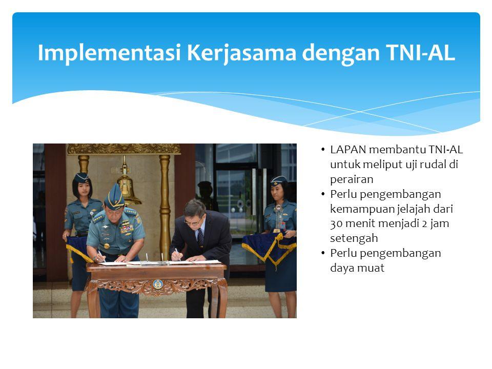 Implementasi Kerjasama dengan TNI-AL LAPAN membantu TNI-AL untuk meliput uji rudal di perairan Perlu pengembangan kemampuan jelajah dari 30 menit menjadi 2 jam setengah Perlu pengembangan daya muat