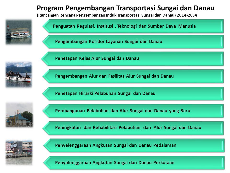 Program Pengembangan Transportasi Sungai dan Danau (Rancangan Rencana Pengembangan Induk Transportasi Sungai dan Danau) 2014-2034 Pengembangan Koridor