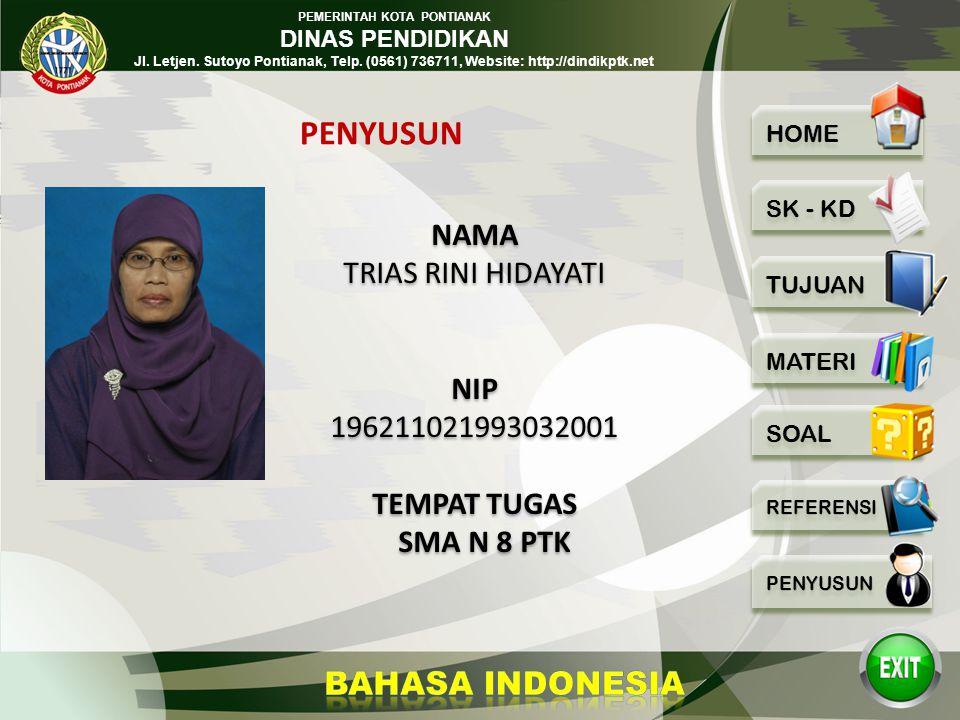 PEMERINTAH KOTA PONTIANAK DINAS PENDIDIKAN Jl. Letjen. Sutoyo Pontianak, Telp. (0561) 736711, Website: http://dindikptk.net PG BAHASA INDONESIA BAHASA