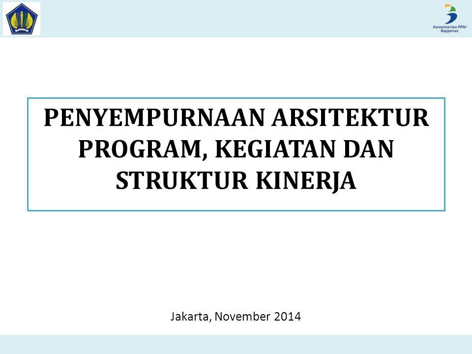 PENYEMPURNAAN ARSITEKTUR PROGRAM, KEGIATAN DAN STRUKTUR KINERJA Jakarta, November 2014