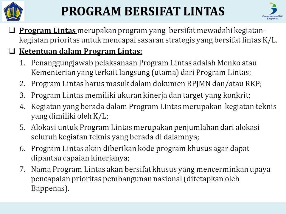  Program Lintas merupakan program yang bersifat mewadahi kegiatan- kegiatan prioritas untuk mencapai sasaran strategis yang bersifat lintas K/L.  Ke
