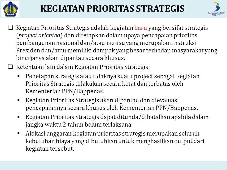 KEGIATAN PRIORITAS STRATEGIS  Kegiatan Prioritas Strategis adalah kegiatan baru yang bersifat strategis (project oriented) dan ditetapkan dalam upaya