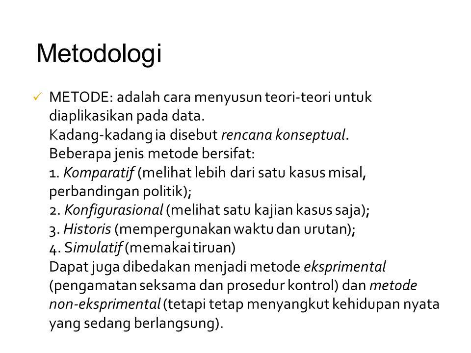 METODE: adalah cara menyusun teori-teori untuk diaplikasikan pada data. Kadang-kadang ia disebut rencana konseptual. Beberapa jenis metode bersifat: 1