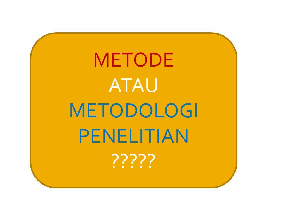  Metodologi seringkali dilihat sebagai aspek yang independen dari sebuah penelitian  Metodologi seringkali dipahami sebagai sebuah pilihan dari sekian banyak pilihan  Metodologi seringkali dilihat sinonim dengan metode Kerancuan