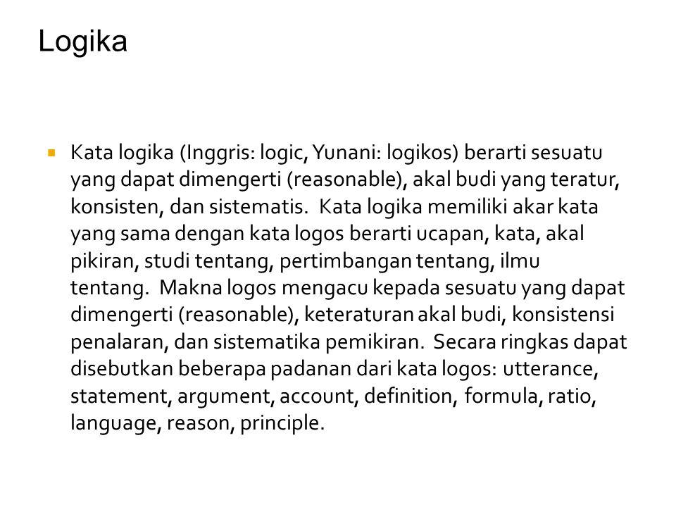  Kata logika (Inggris: logic, Yunani: logikos) berarti sesuatu yang dapat dimengerti (reasonable), akal budi yang teratur, konsisten, dan sistematis.