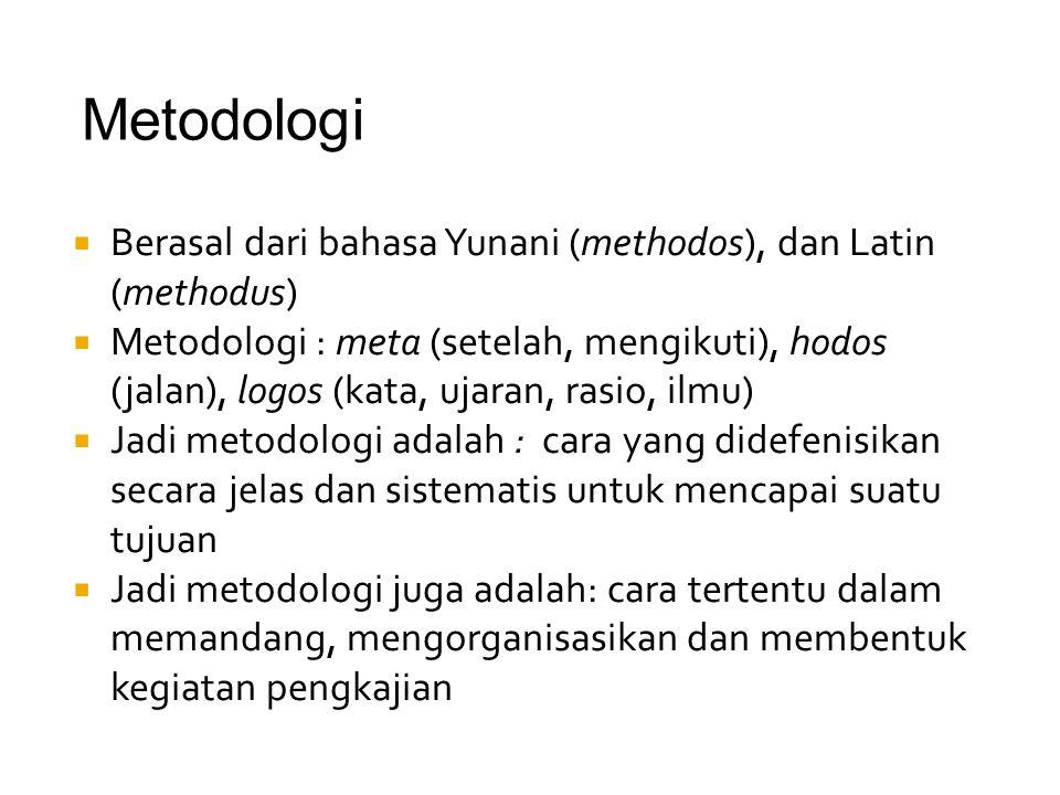  Berasal dari bahasa Yunani (methodos), dan Latin (methodus)  Metodologi : meta (setelah, mengikuti), hodos (jalan), logos (kata, ujaran, rasio, ilm