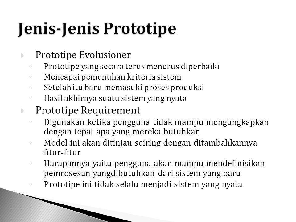  Prototipe Evolusioner ◦ Prototipe yang secara terus menerus diperbaiki ◦ Mencapai pemenuhan kriteria sistem ◦ Setelah itu baru memasuki proses produ