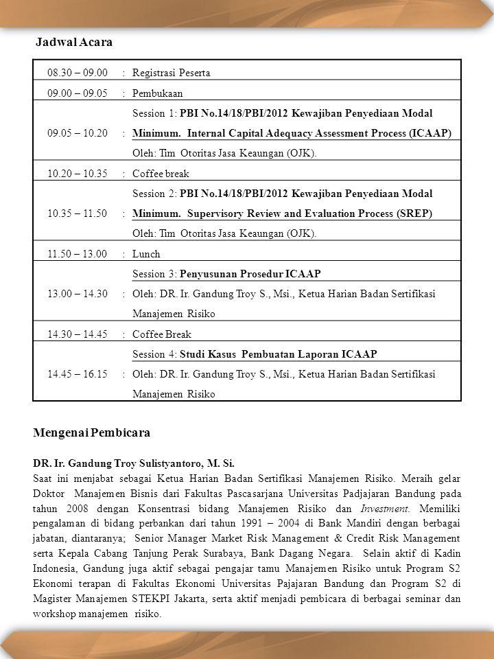 08.30 – 09.00:Registrasi Peserta 09.00 – 09.05:Pembukaan 09.05 – 10.20: Session 1: PBI No.14/18/PBI/2012 Kewajiban Penyediaan Modal Minimum. Internal