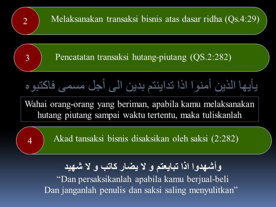 Hukum Muamalah dalam Al-Quran Allah Swt menjelaskan pokok-pokok muamalah kehartabendaan (muamalah maliyah) yang adil dalam Al-Quran Adapun prinsip muamalah maliyah tersebut ialah : 1 Melarang memakan makanan secara bathil (4:29) يَاأَيُّهَا الَّذِينَ ءَامَنُوا لاَتَأْكُلُوا أَمْوَالَكُم بَيْنَكُم بِالْبَاطِلِ إِلاَّ أَنْ تَكُونَ تِجَارَةً عَن تَرَاضٍ مِّنكُمْ وَلاَتَقْتُلُوا أَنفُسَكُمْ إِنَّ اللهَ كَانَ بِكُمْ رَحِيمًا Hai orang-orang yang beriman, janganlah kamu saling memakan harta sesamu dengan jalan yang batil, kecuali dengan jalan perniagaan yang berlaku dengan suka-sama suka di antara kamu (An- Nisa : 29)