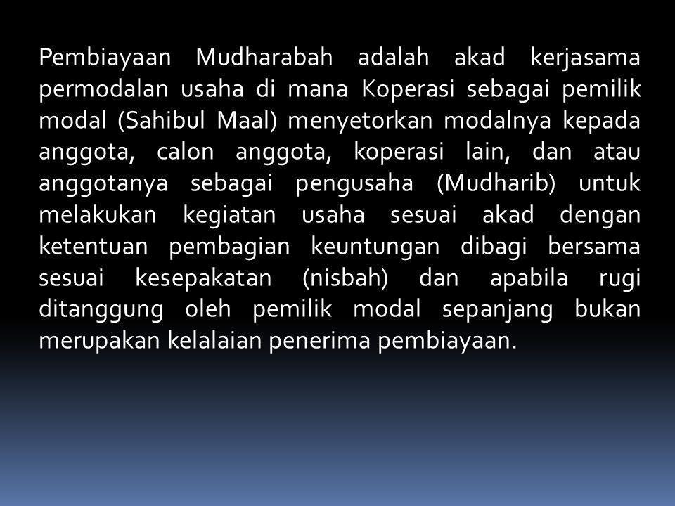 Investasi mudharabah Al-Mutlaqah adalah tabungan anggota pada koperasi dengan akad Mudharabah Al- Mutlaqah yang diperlakukan sebagai investasi anggota untuk dimanfaatkan secara produktif dalam bentuk pembiayaan kepada anggota koperasi, calon anggota, koperasi lain dan atau anggotanya secara profesional dengan ketentuan penyimpan mendapatkan bagi hasil atas penyimpanan dananya sesuai nisbah (proporsi bagi hasil) yang disepakati pada saat pembukaan rekening tabungan.