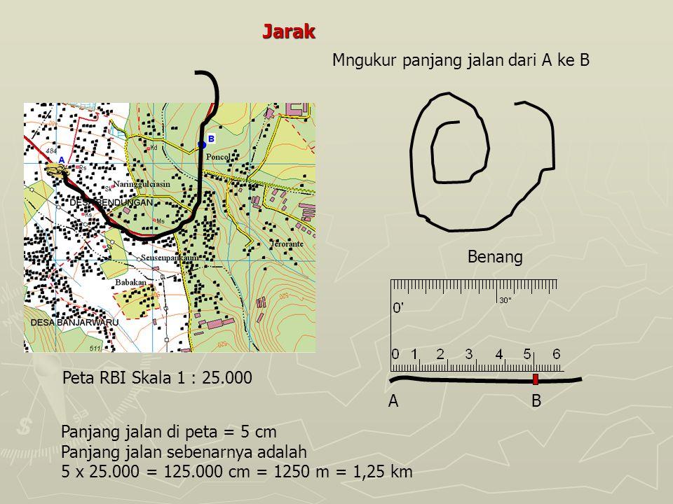 Jarak Peta RBI Skala 1 : 25.000 Benang Mngukur panjang jalan dari A ke B AB Panjang jalan di peta = 5 cm Panjang jalan sebenarnya adalah 5 x 25.000 =