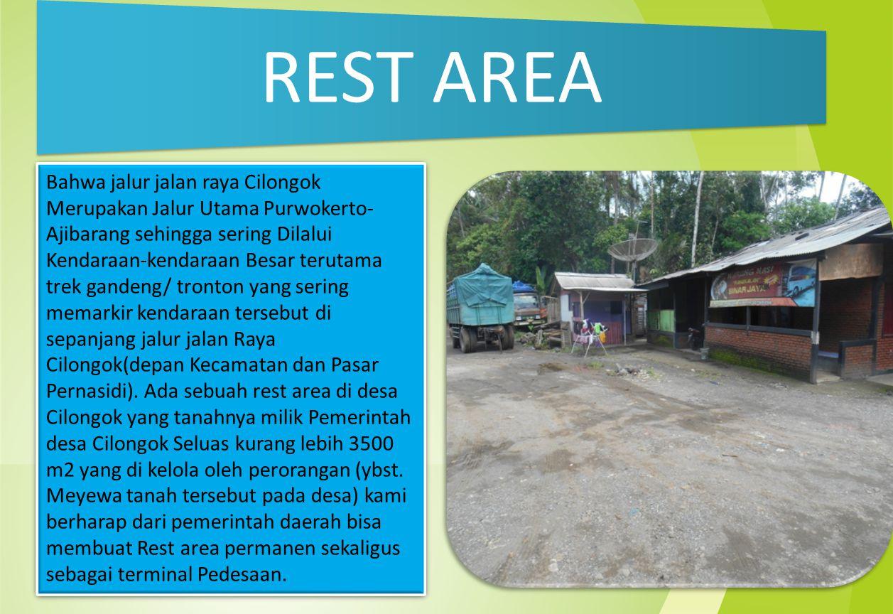 REST AREA Bahwa jalur jalan raya Cilongok Merupakan Jalur Utama Purwokerto- Ajibarang sehingga sering Dilalui Kendaraan-kendaraan Besar terutama trek