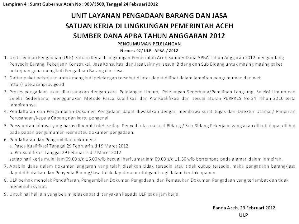 Lampiran 4 : Surat Gubernur Aceh No : 903/3508, Tanggal 24 Februari 2012