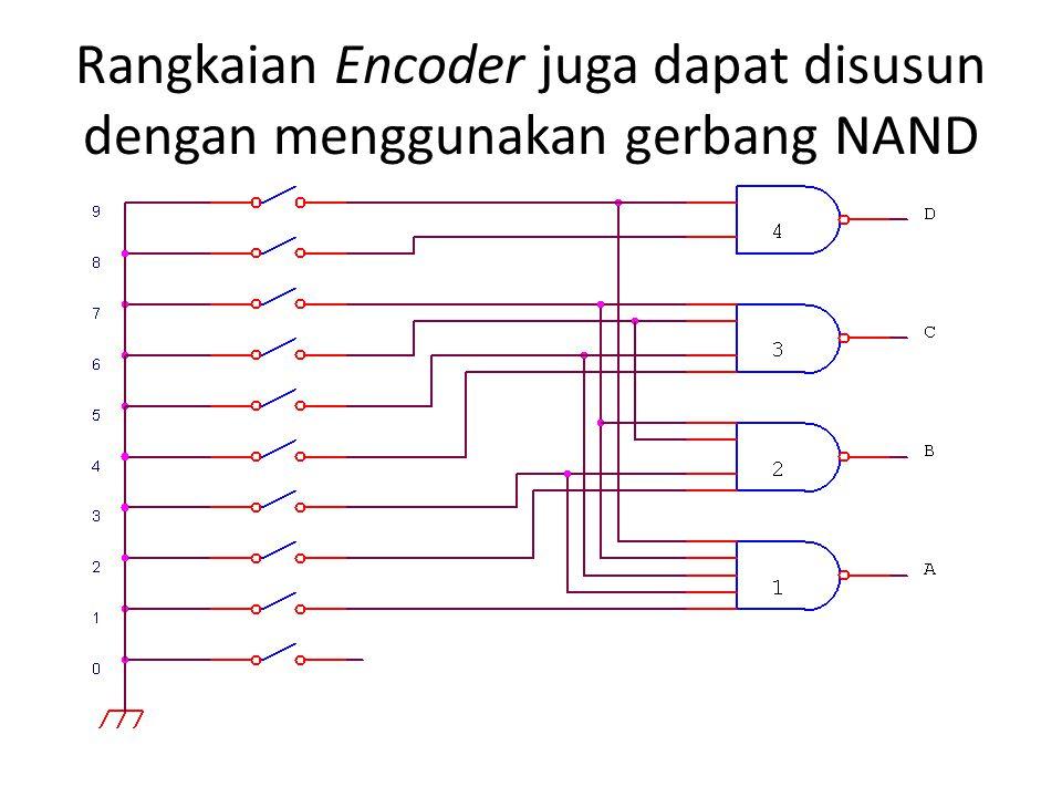 Rangkaian Encoder juga dapat disusun dengan menggunakan gerbang NAND