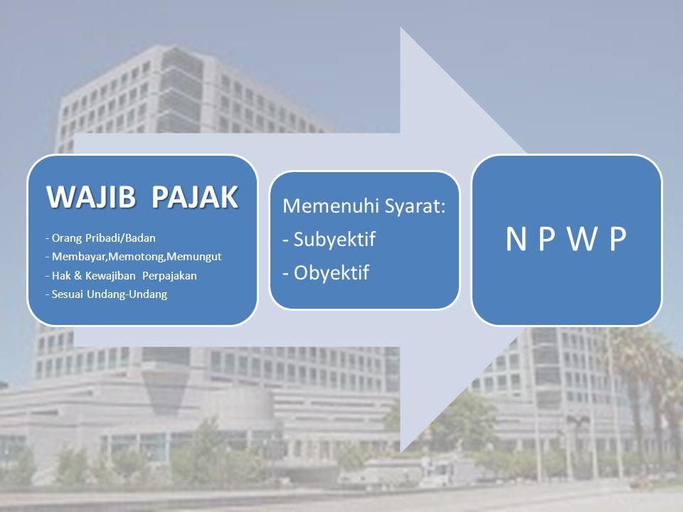 WAJIB PAJAK - Orang Pribadi/Badan - Membayar,Memotong,Memungut - Hak & Kewajiban Perpajakan - Sesuai Undang-Undang Memenuhi Syarat: - Subyektif - Obyektif N P W P