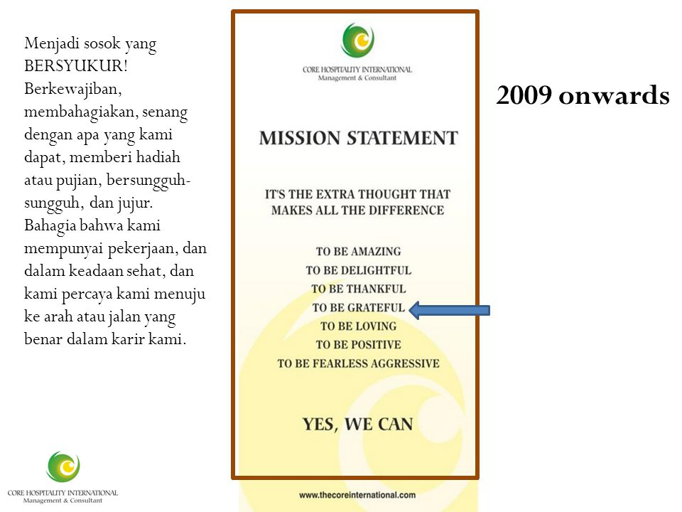 It is 2009 onwards Menjadi sosok yang BERSYUKUR.