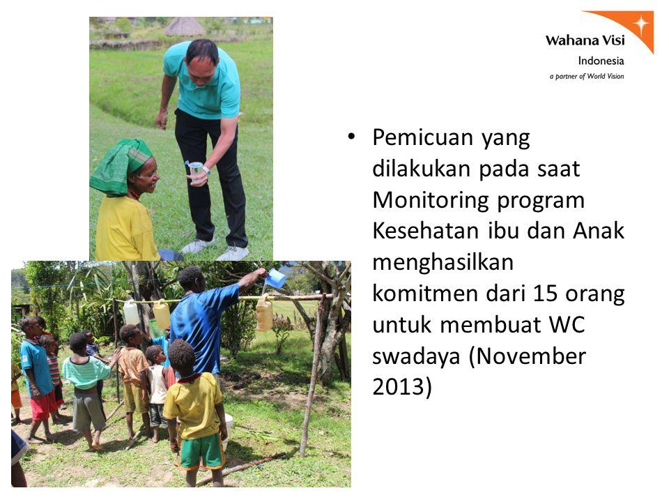 Pemicuan yang dilakukan pada saat Monitoring program Kesehatan ibu dan Anak menghasilkan komitmen dari 15 orang untuk membuat WC swadaya (November 201