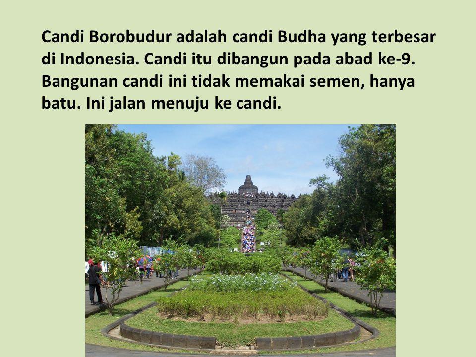 Candi Borobudur adalah candi Budha yang terbesar di Indonesia. Candi itu dibangun pada abad ke-9. Bangunan candi ini tidak memakai semen, hanya batu.