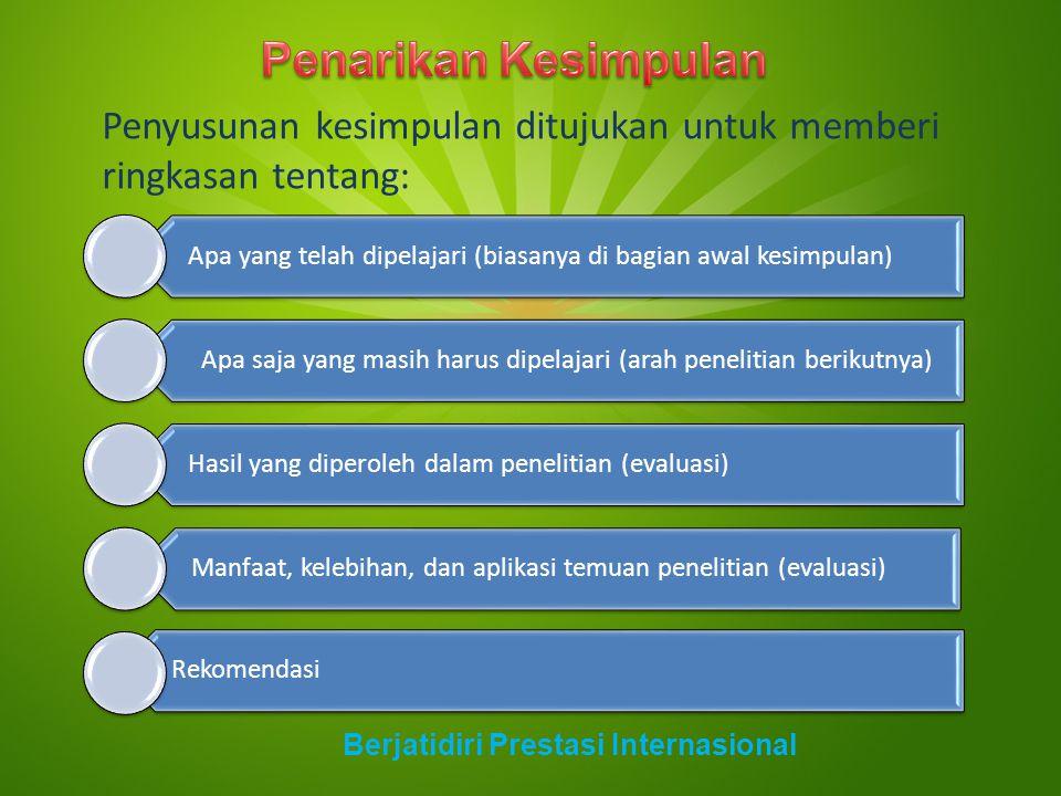 Penyusunan kesimpulan ditujukan untuk memberi ringkasan tentang: Berjatidiri Prestasi Internasional Apa yang telah dipelajari (biasanya di bagian awal