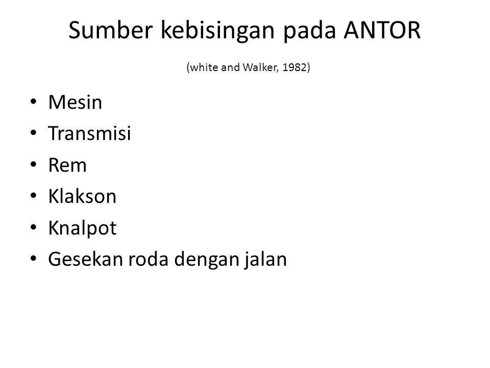 Sumber kebisingan pada ANTOR (white and Walker, 1982) Mesin Transmisi Rem Klakson Knalpot Gesekan roda dengan jalan