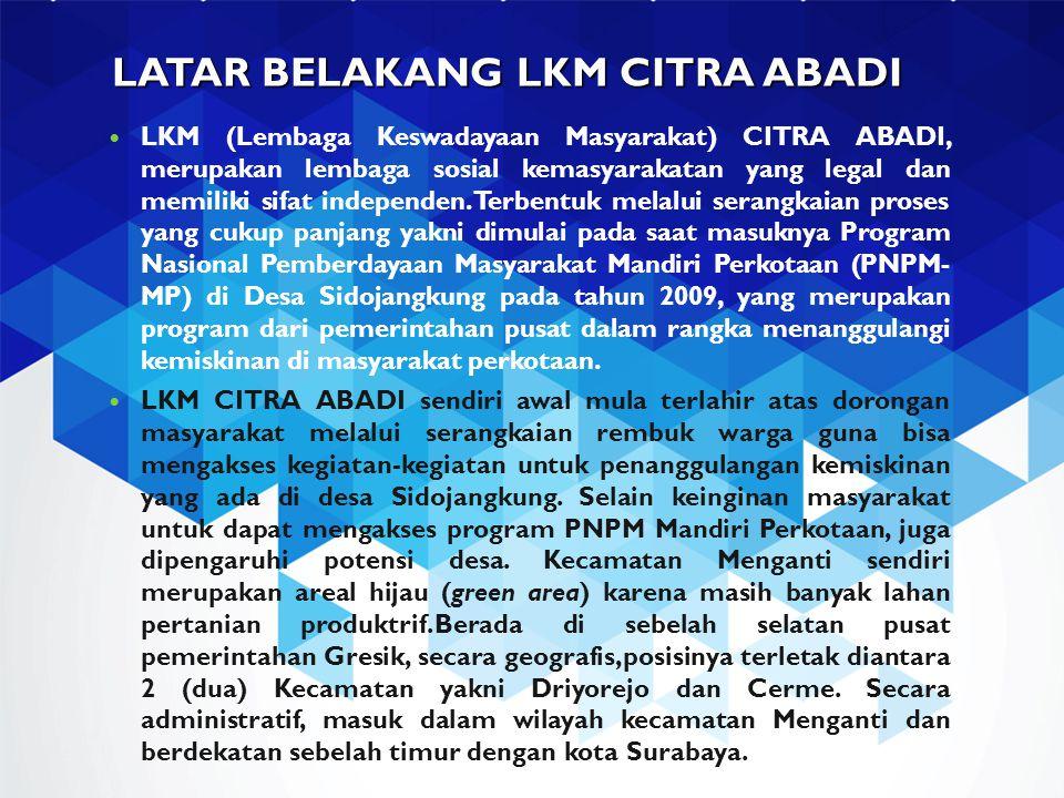 LATAR BELAKANG LKM CITRA ABADI LKM (Lembaga Keswadayaan Masyarakat) CITRA ABADI, merupakan lembaga sosial kemasyarakatan yang legal dan memiliki sifat