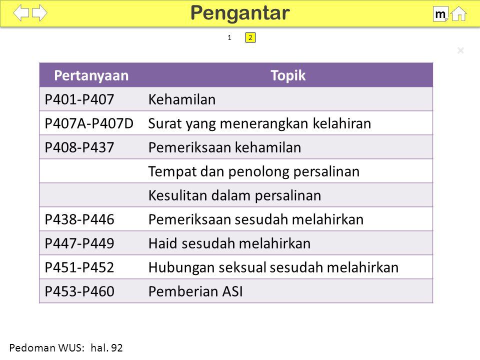 100% SDKI 2012 PertanyaanTopik P401-P407Kehamilan P407A-P407DSurat yang menerangkan kelahiran P408-P437Pemeriksaan kehamilan Tempat dan penolong persa