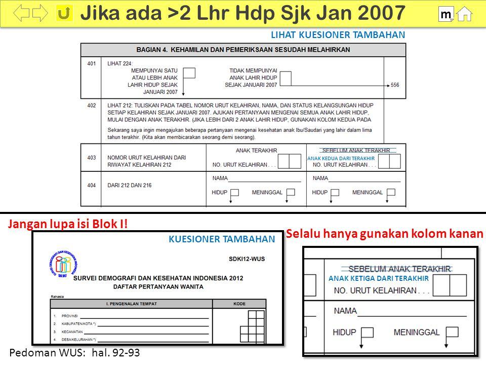 100% Jika ada >2 Lhr Hdp Sjk Jan 2007 m Pedoman WUS: hal. 92-93 LIHAT KUESIONER TAMBAHAN ANAK KETIGA DARI TERAKHIR ANAK KEDUA DARI TERAKHIR KUESIONER