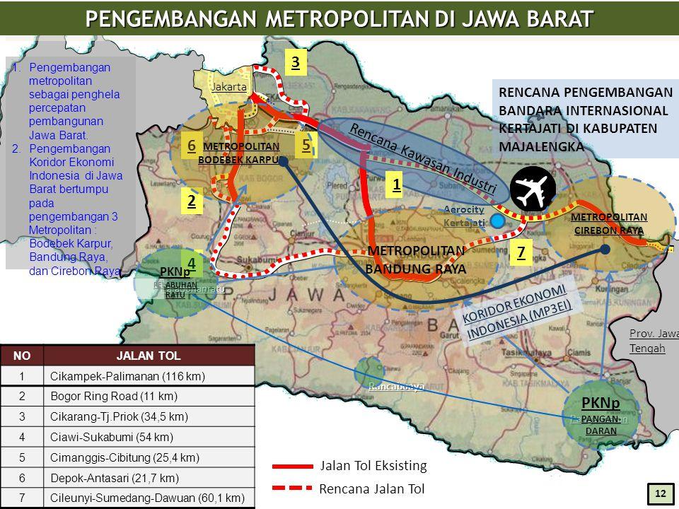 Jakarta Prov. Jawa Tengah PENGEMBANGAN METROPOLITAN DI JAWA BARAT Pangandaran Rancabuaya Surade Palabuhanratu 4 2 5 3 6 Aerocity Kertajati Rencana Kaw