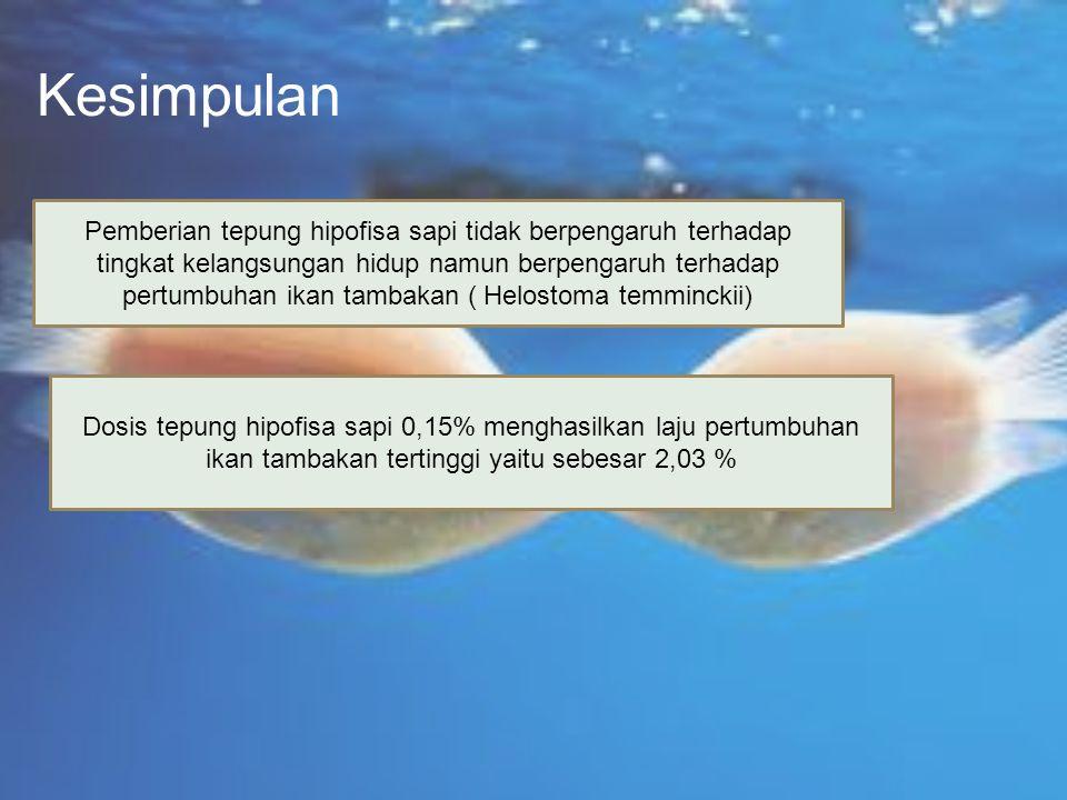 Kesimpulan Pemberian tepung hipofisa sapi tidak berpengaruh terhadap tingkat kelangsungan hidup namun berpengaruh terhadap pertumbuhan ikan tambakan (