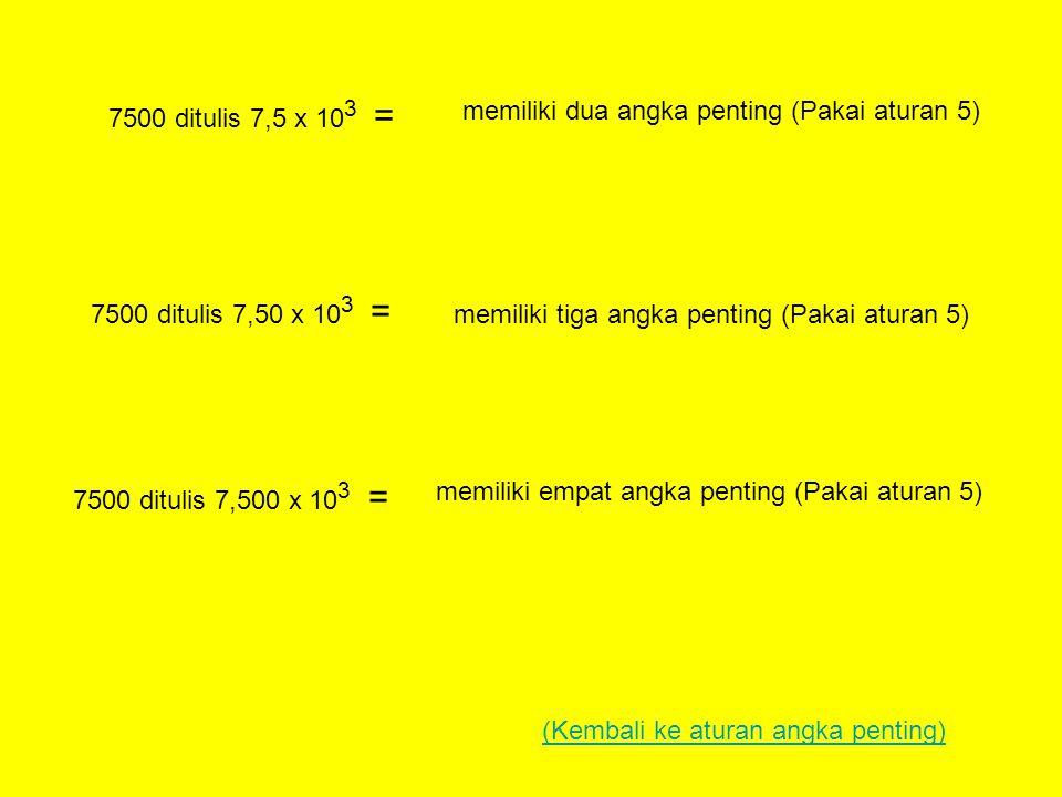 7500 ditulis 7,5 x 10 3 = memiliki dua angka penting (Pakai aturan 5) 7500 ditulis 7,50 x 10 3 = memiliki tiga angka penting (Pakai aturan 5) 7500 ditulis 7,500 x 10 3 = memiliki empat angka penting (Pakai aturan 5) (Kembali ke aturan angka penting)