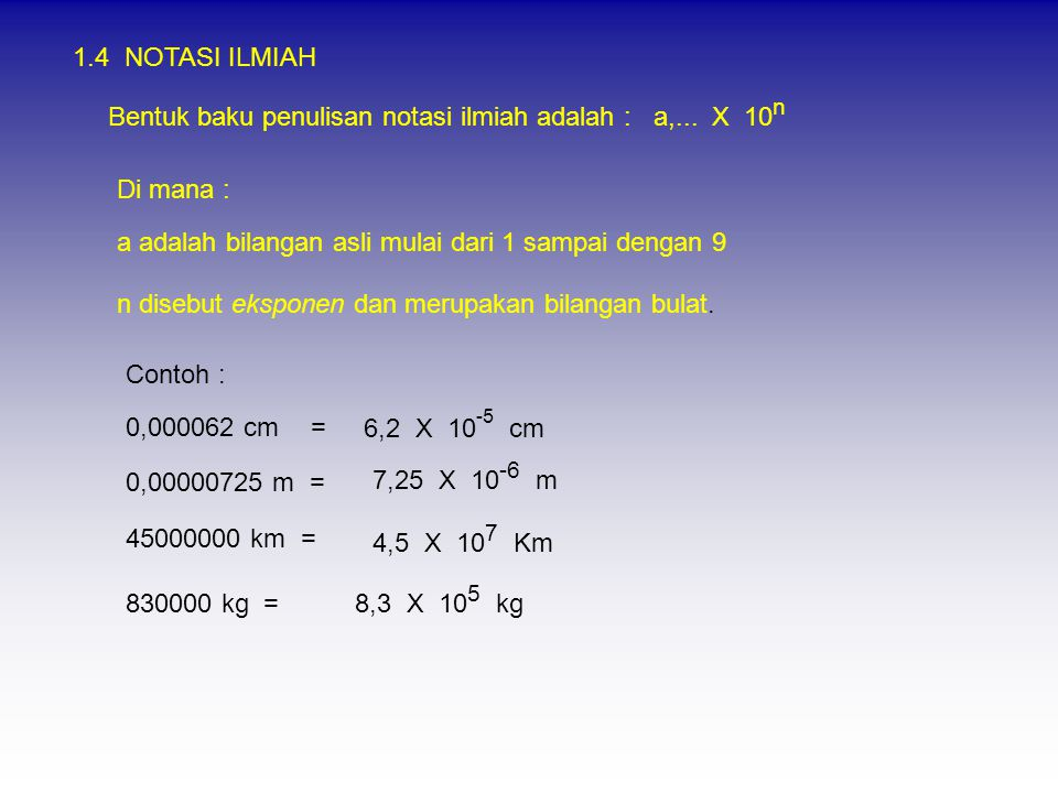 1.4 NOTASI ILMIAH Bentuk baku penulisan notasi ilmiah adalah : a,...