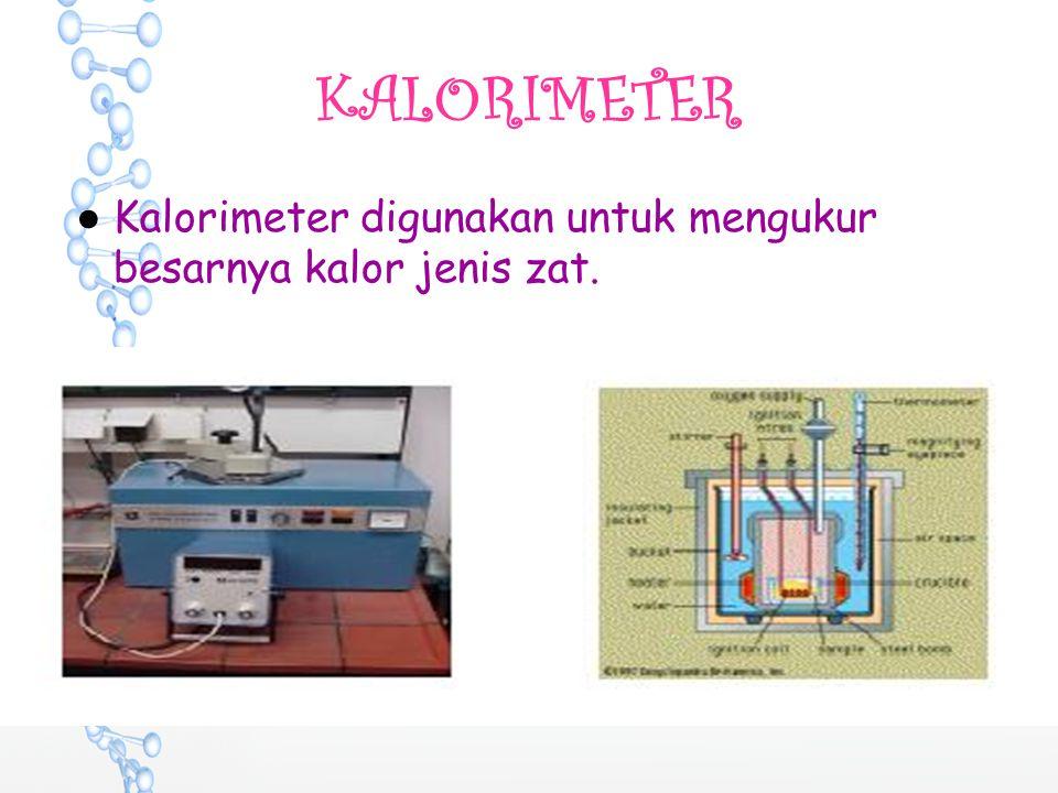 KALORIMETER ●Kalorimeter digunakan untuk mengukur besarnya kalor jenis zat.