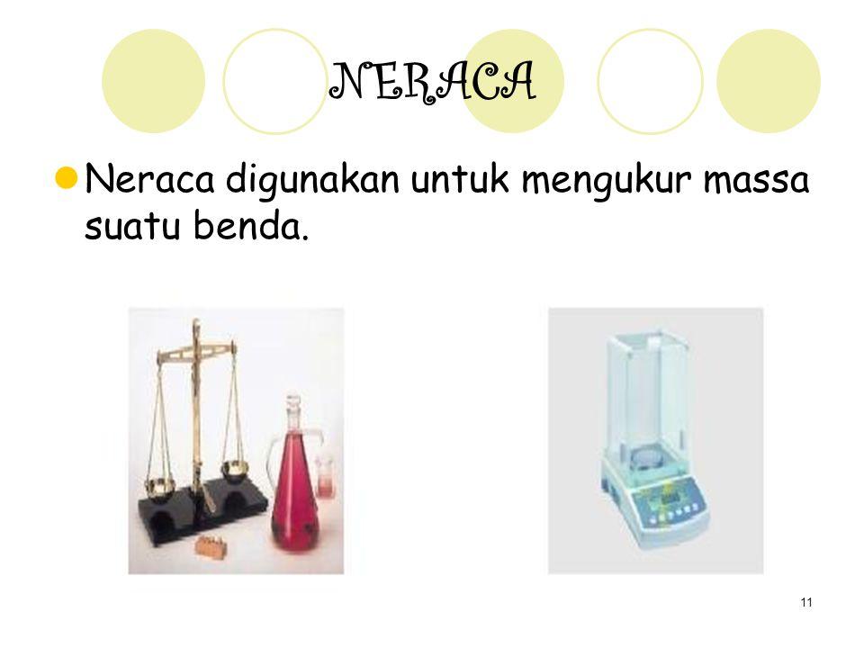 11 NERACA Neraca digunakan untuk mengukur massa suatu benda.