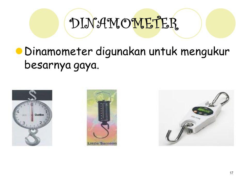 17 DINAMOMETER Dinamometer digunakan untuk mengukur besarnya gaya.