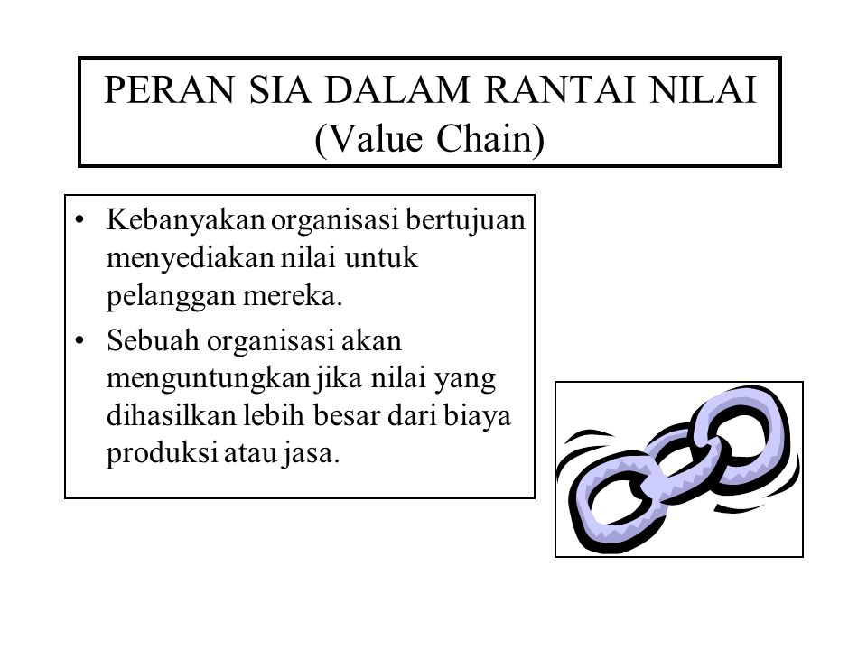 PERAN SIA DALAM RANTAI NILAI (Value Chain) Kebanyakan organisasi bertujuan menyediakan nilai untuk pelanggan mereka.