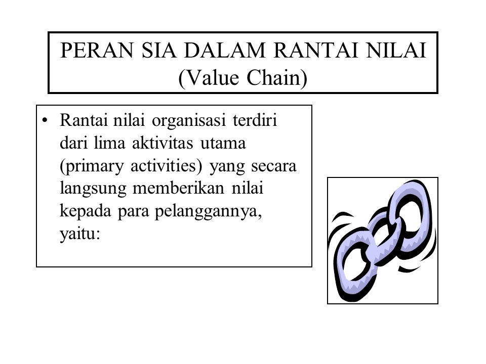 PERAN SIA DALAM RANTAI NILAI (Value Chain) Rantai nilai organisasi terdiri dari lima aktivitas utama (primary activities) yang secara langsung memberikan nilai kepada para pelanggannya, yaitu: