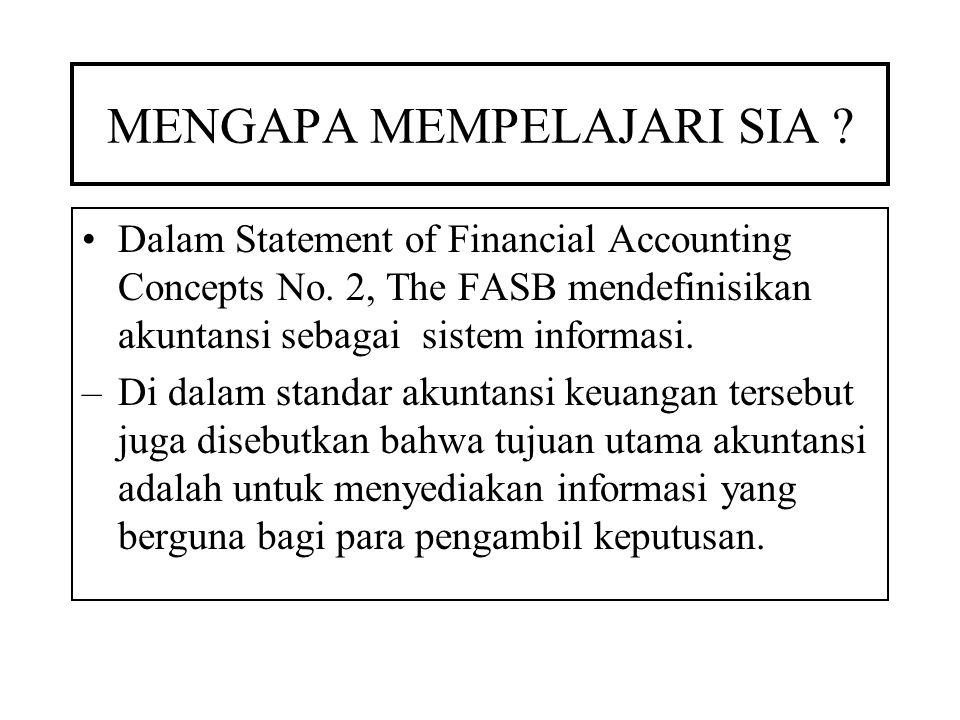 MENGAPA MEMPELAJARI SIA .Dalam Statement of Financial Accounting Concepts No.