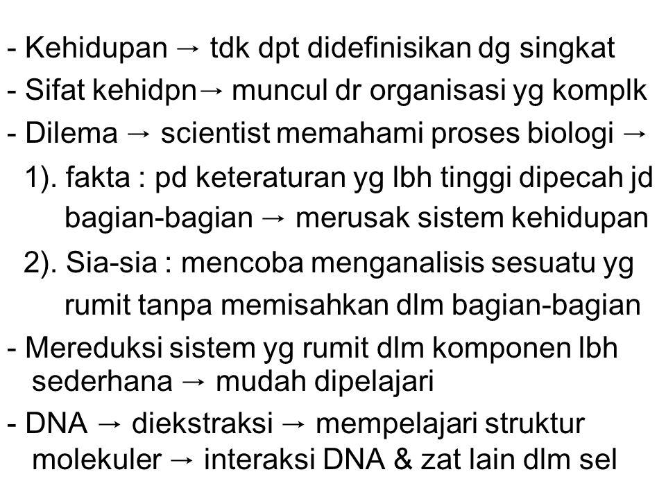 - Kehidupan → tdk dpt didefinisikan dg singkat - Sifat kehidpn → muncul dr organisasi yg komplk - Dilema → scientist memahami proses biologi → 1).